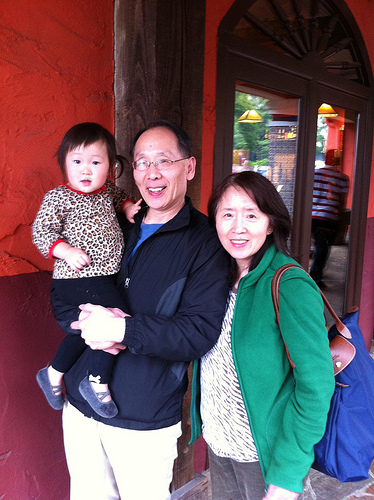 Emery with Grandma and Grandpa Peng